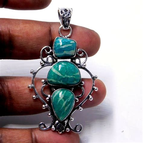 Amazonite 925 Sterling Silver Plated Handmade Jewelry Earring 9 Gm