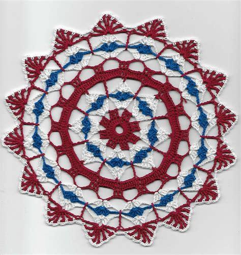 Crochet Doily Patriotic Shells White Red Blue 11 1 2 new