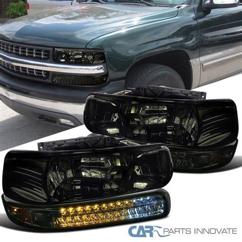 For Chevy 99 02 Silverado 00 06 Suburban Tahoe Smoke Headlights Drivin