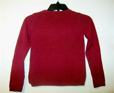 H M Little Girls Maroon Cat Sweater Size 6 Cats Have More Fun EUC