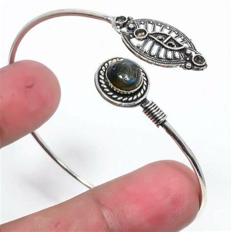 Labradorite Gemstone 925 Silver Fashion Jewelry Cuff Bangle Adst KC858