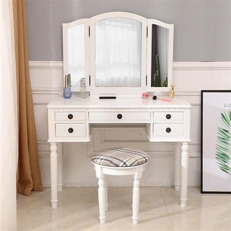 Tri Folding Mirror Makeup Dressing Vanity Set with 4 Drawers