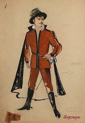 Vintage Gouache Painting Man Portrait Costume Design signed